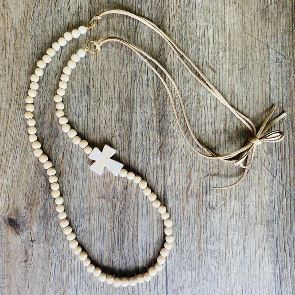MBN Necklace- Leather/Ivory/Cross