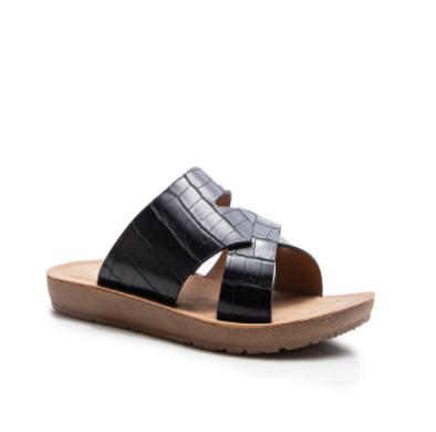 SLIP ON COMFORT BOTTOM SANDALS- Black Croc