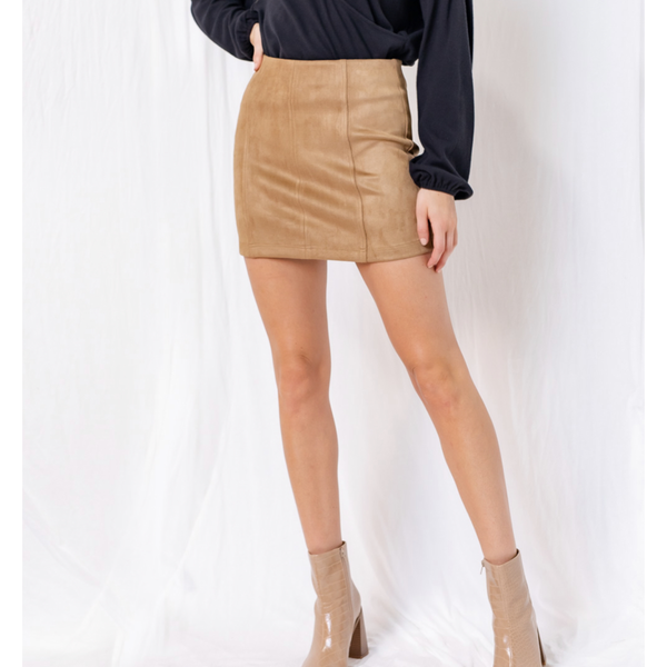 Suede stretch skirt- CAMEL