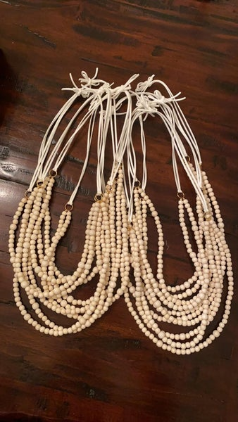 MBN necklace- Double Tier bead/leather- Ivory
