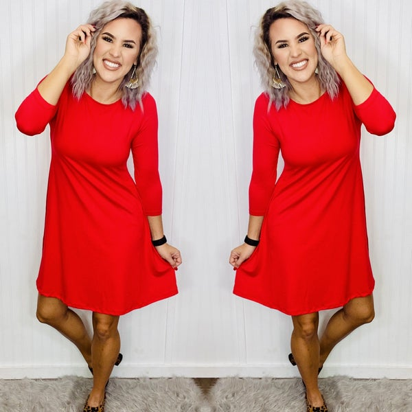 Women's Solid 3/4 Sleeve Swing Dress- Ruby