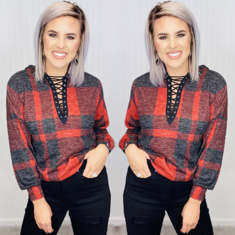 LONG SLEVE MOHAIR PLAID SWEATER
