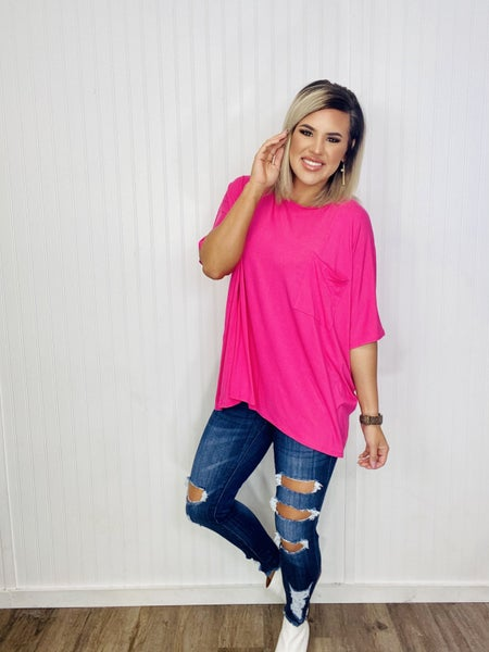LUXE RAYON OVERSIZED ROUND NECK FRONT POCKET TOP- Fuchsia
