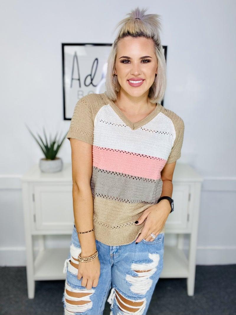 Knit Color Block Top- Multi-Color