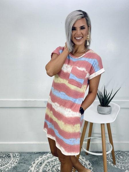 Tie Dye Stripe Dress- Coral