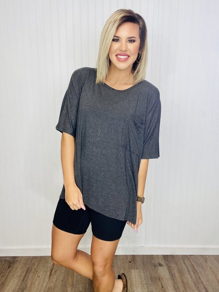 LUXE RAYON OVERSIZED ROUND NECK FRONT POCKET TOP-