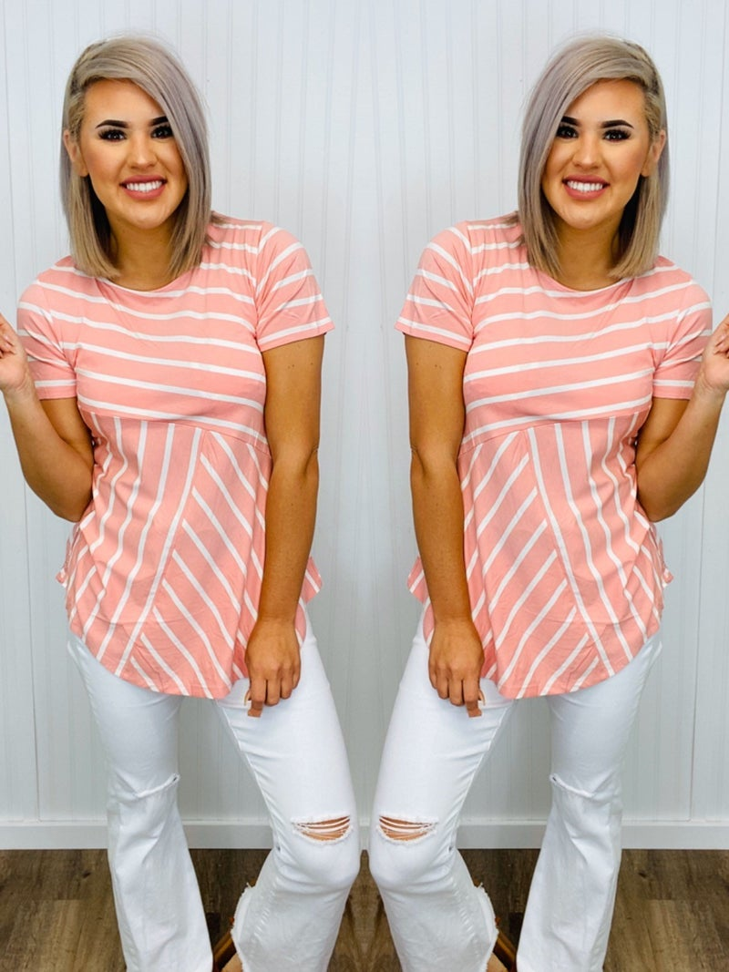 Striped rose and white short sleeve tunic top
