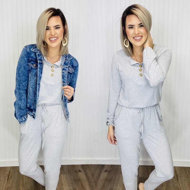 LONG SLEEVE JOGGER JUMPSUIT WITH POCKETS- H.Grey