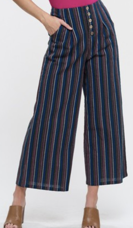 Multi Colored Stripe Wide Pants- Dark Blue/ Multi