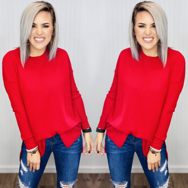 THERMAL WAFFLE ROUND NECK SWEATER- RUBY RED