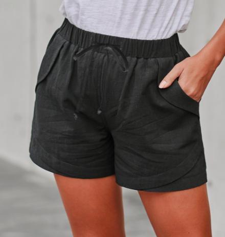 Faylin Linen Shorts- BLACK