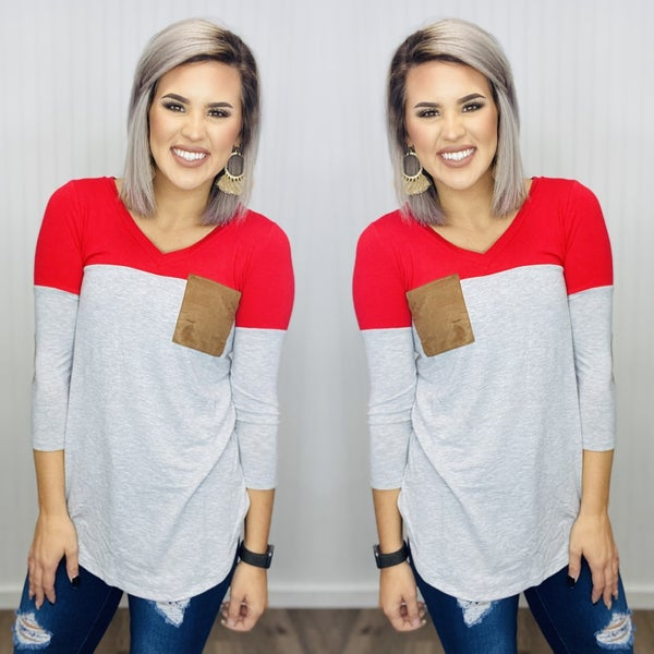 COLOR BLOCK V- NECK WITH CHEST POCKET & ELBOW PATCH- RUBY