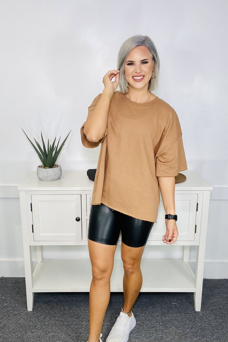 FRENCH TERRY DROP SHOULDER RAW EDGE TOP- Deep Camel