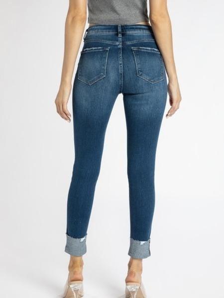 Kancan Gemma High Rise Skinny Jeans w/ Folded Hem- Dark