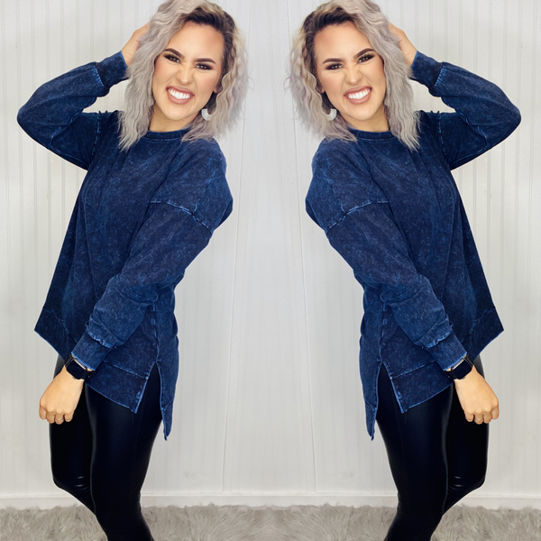 MINERAL WASH LONG SLEEVE ROUND NECK HIGH-LOW HEM- Sapphire