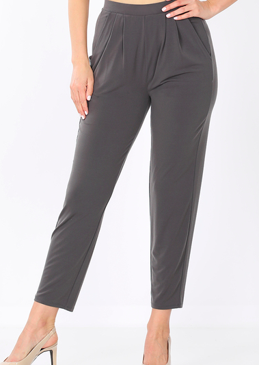 ITY PLEATED WAIST PANTS WITH SIDE POCKETS- ASH GREY