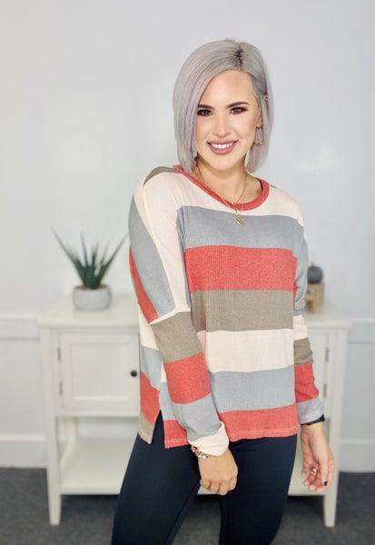 Stripe Color Block Top- Rust/Charcoal/Cream