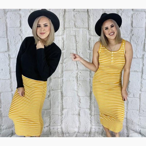 SLEEVELESS HENLEY TANK MAXI DRESS Mustard