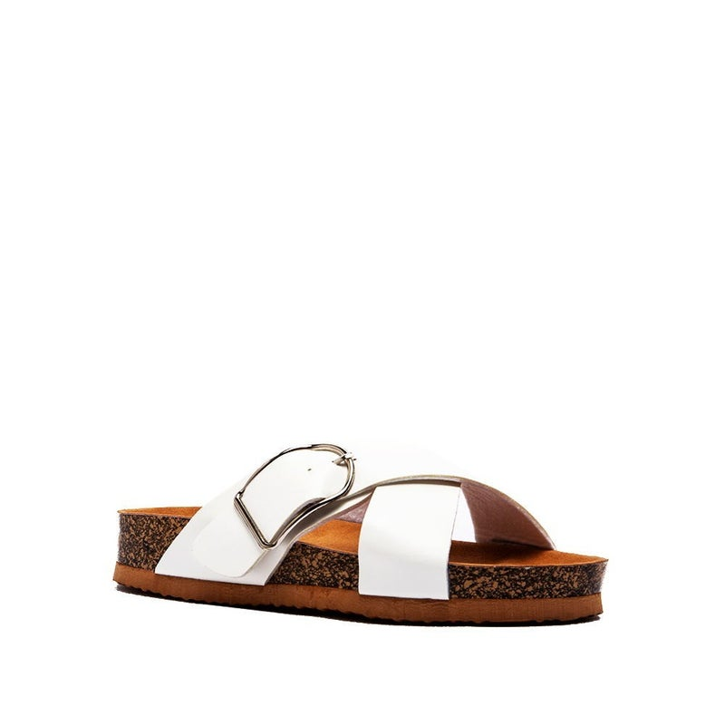 LEATHER CROSS STRAP SANDALS- WHITE