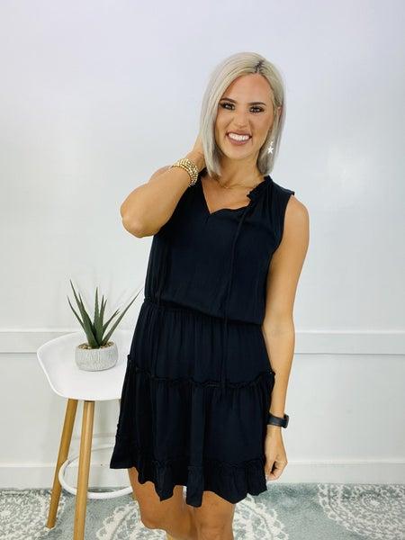 Sleeveless Drawstring Mini Dress- BLACK