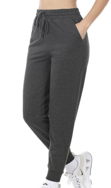 FRENCH TERRY JOGGER PANTS WITH SIDE POCKETS- Charcoal