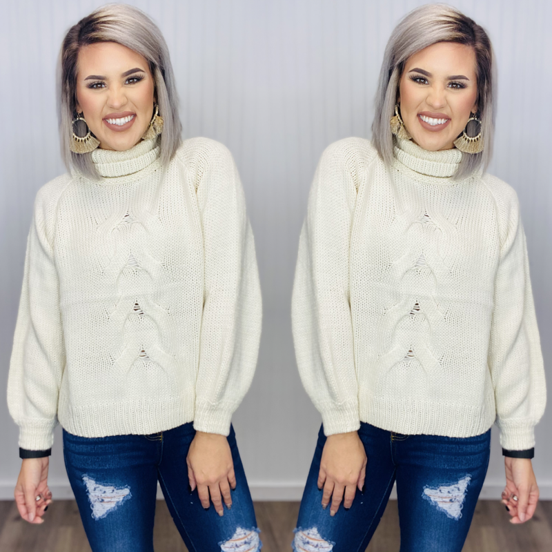 CHUNKY CABLE KNIT TURTLENECK SWEATER- CREAM