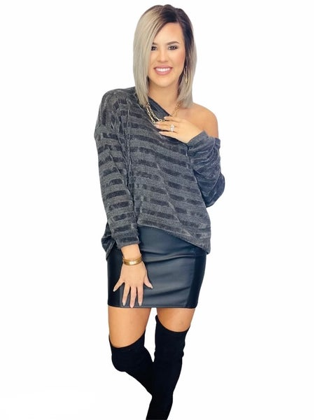 Chenille Stripe Lurex Sleeve Top-Charcoal