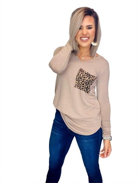 V-Neck Long Sleeve Leopard Pocket- Ash Mocha