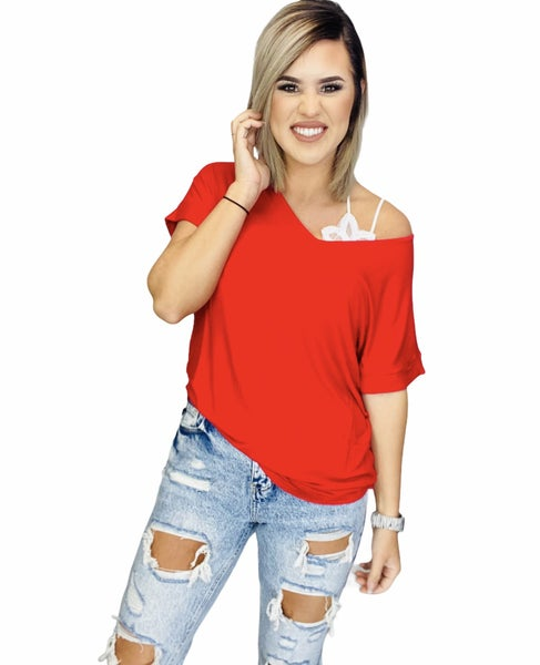 LUXE RAYON SHORT CUFF SLEEVE V-NECK ROUND HEM TOP- RUBY