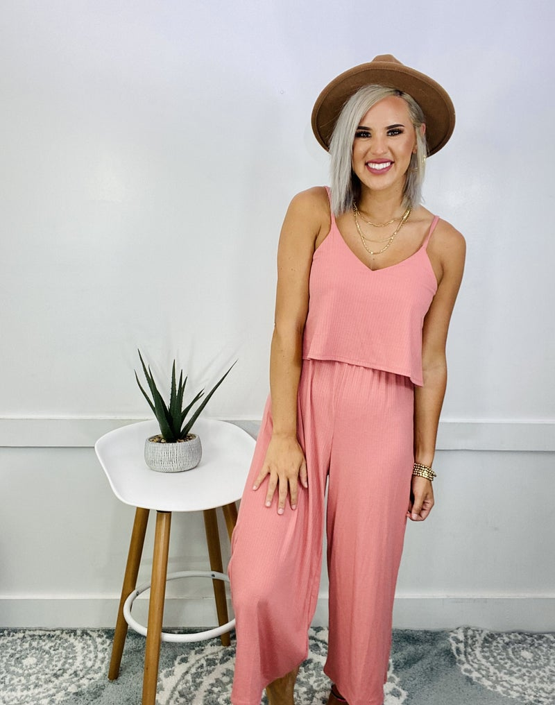 RIBBED DOUBLE LAYER JUMPSUIT- ASH ROSE