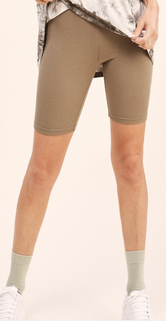 Gwen Short Ribbed Biker Shorts- Olive