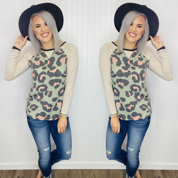 ANIMAL PRINT ROUND-NECKLINE LONG SLEEVE TOP- Olive/Taupe