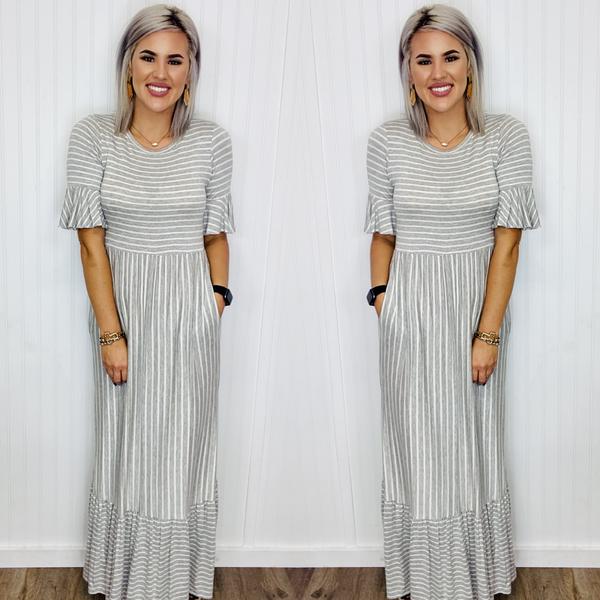 STRIPED RIFFLED DRESS BELL SLEEVE- Grey/Ivory