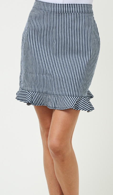 Ruffled Denim Stripe Skirt- Denim/Ivory
