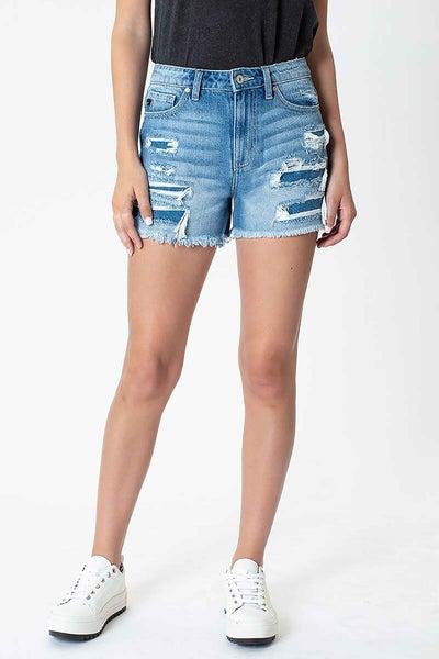 Ella High Rise Fray Hem Mom Shorts
