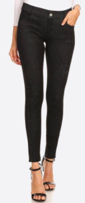 Women's Classic Faded Out Skinny Jeggings- Black