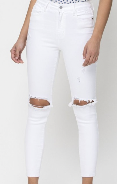Cello High Rise Distress Ankle Skinny-Whiter