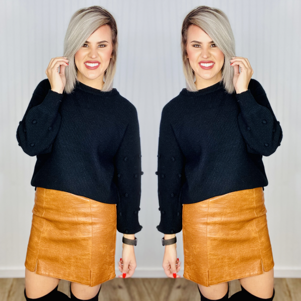 Pom Balloon Sleeve Sweater- Black
