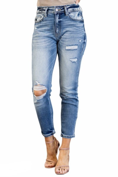 Kancan High Rise Distressed Mom- Jeans
