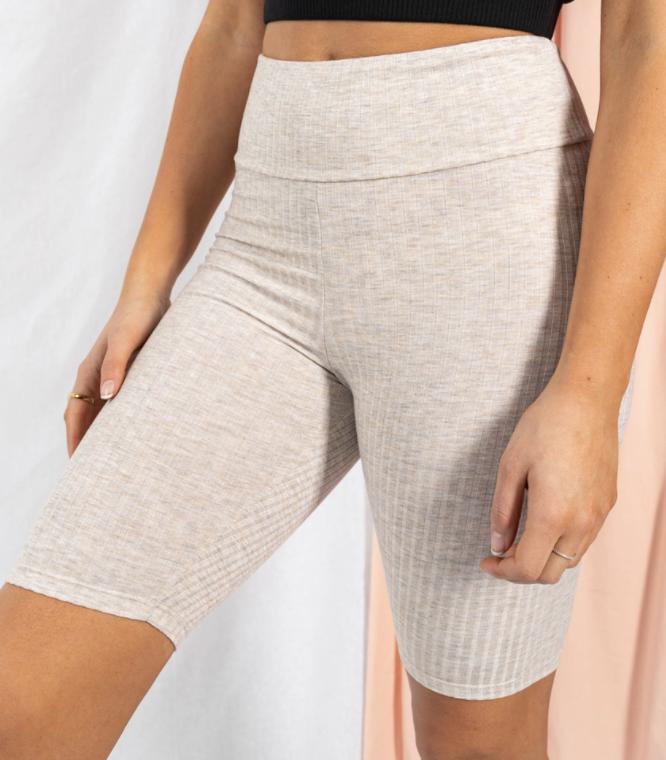 Ribbed Biker Shorts- Oatmeal