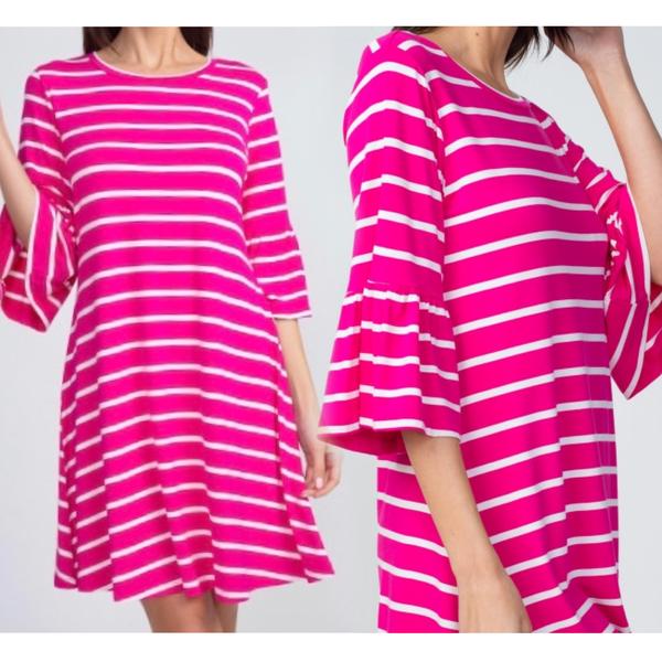 Women's Striped Ruffle 3/4 Sleeve Dress-  pink