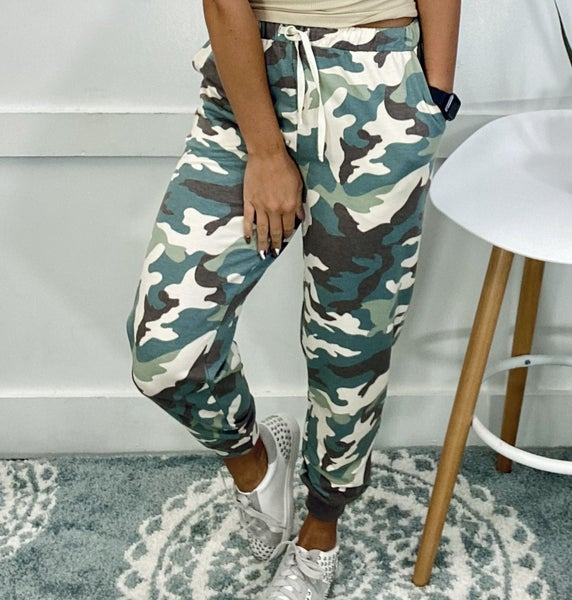 SOFT FRENCH TERRY PRINTED JOGGER PANTS- Green Camo