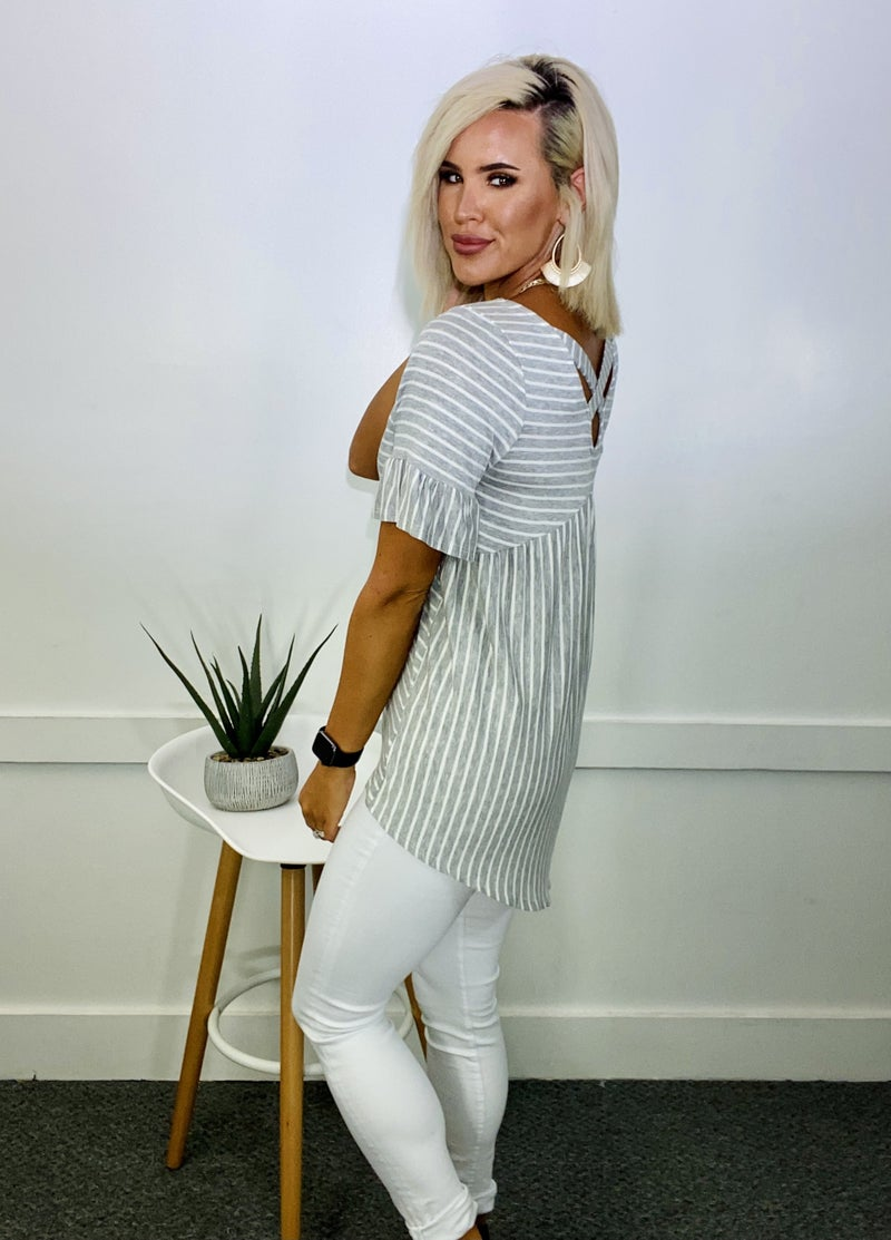 Erika Stripe Tunic- HGREY/IVORY