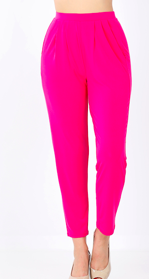 ITY PLEATED WAIST PANTS WITH SIDE POCKETS- Hot Pink