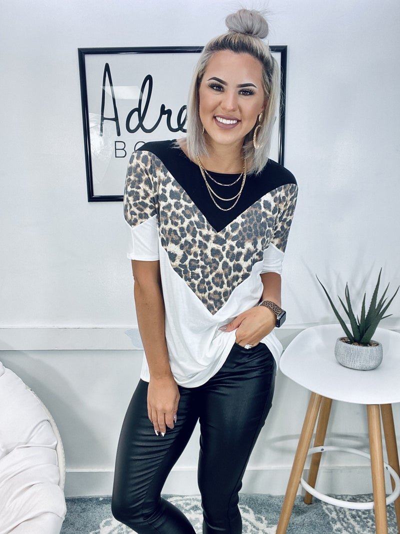 SOLID AND ANIMAL CHEVRON TOP- Black/Leopard/Ivory