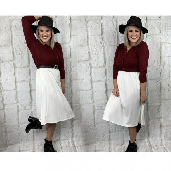 3/4 length Bolero Sweater- Cabernet