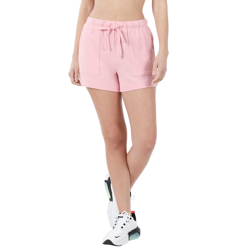 COTTON DRAWSTRING WAIST SHORTS WITH POCKETS- DUSTY PINK