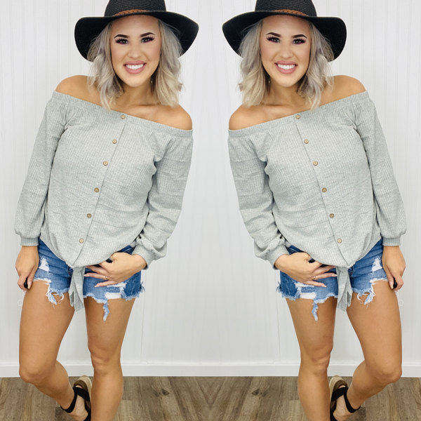 Off the shoulder waffle button down