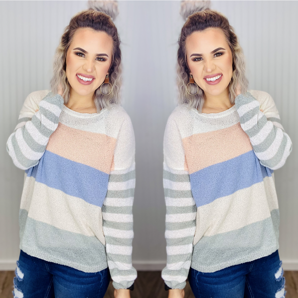 COLOR BLOCK LIGHT WEIGHT KNIT SWEATER-Peach/Grey/Ivory