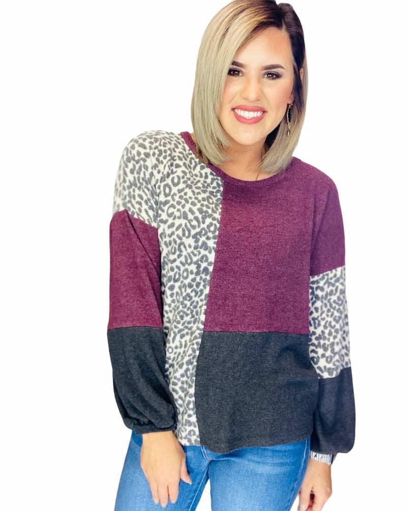 Square Colorblock Puff Sleeve Tunic-BURGUNDY/CHARCOAL
